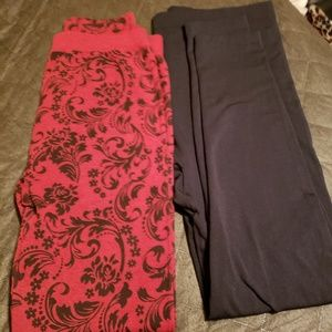 Lane Bryant black leggings, Floral Scroll print